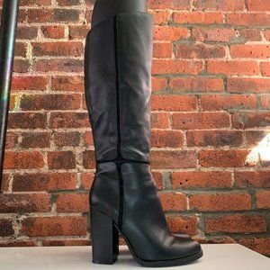 A+ BLACK TALL FAUX LEATHER CUTOUT KNEE-HIGH BOOT